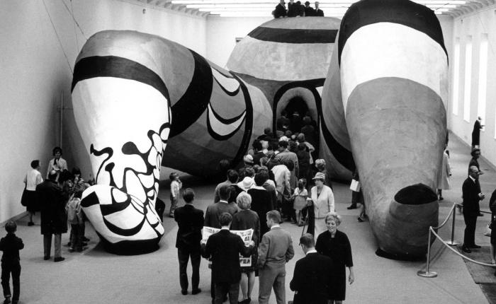 Installation view of the entrance to <em>Hon: en katedral</em> (She: A Cathedral), 1966. Photograph by Hans Hammarskiöld. Courtesy of the Moderna Museet and Hans Hammarskiöld.