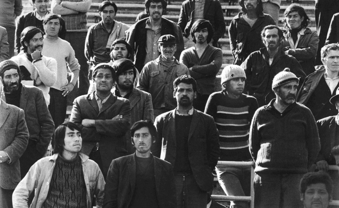 Prisoners at the National Stadium, Santiago, Chile, 1973. Photo by Marcelo Montecino.