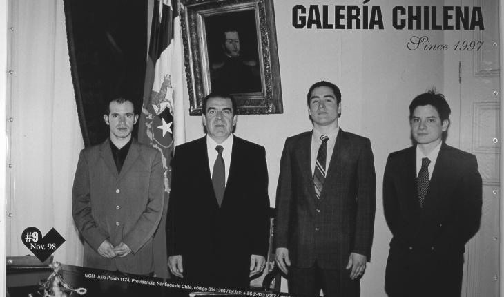 Galería Chilena, Diego Fernández, Felipe Mujica, and Joe Villablanca, with the president of Chile, Eduardo Frei, in his office