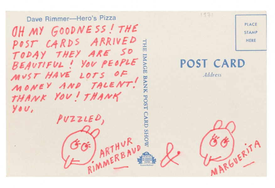 Ray Johnson, postcard, c. 1971. Collection of the Morris and Helen Belkin Art Gallery, Morris/Trasov Archive. Courtesy of the Ray Johnson Estate.